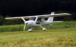 Ultralight airplane. Taking off ultralight sport airplane Royalty Free Stock Photography