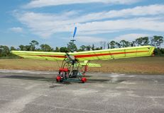 Ultralight airplane on the ground. Ultra light airplane built by aviation hobbyists Royalty Free Stock Images