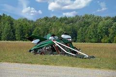 Ultralight crash in rural field Royalty Free Stock Photos