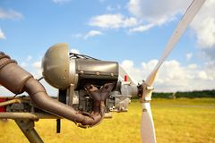 Ultralight plane engine closeup Royalty Free Stock Photos