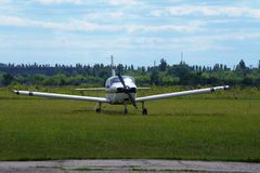 Ultralight airplane on the airfield. Ultralight private airplane are at the airfield Stock Image
