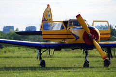 Ultralight airplane on the airfield. Ultralight private airplane are at the airfield Stock Images