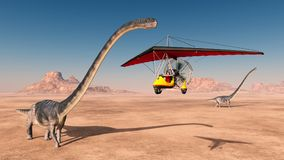 Ultralight trike over a desert and the dinosaur Omeisaurus. Computer generated 3D illustration with an ultralight trike over a desert and the dinosaur Omeisaurus Stock Image