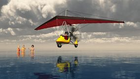 Ultralight trike over the sea and bathing women. Computer generated 3D illustration with an ultralight trike over the sea and bathing women Royalty Free Stock Image