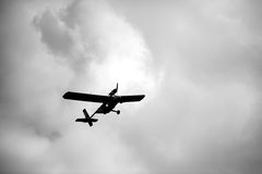 Ultralight weight airplane flying in the sky Royalty Free Stock Images