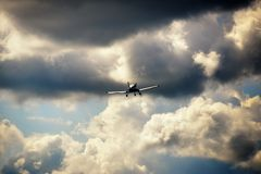 Ultralight weight airplane flying in the sky Royalty Free Stock Photos