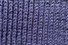 Ultramarine handmade rib knit fabric from above. Ultramarine hand made rib knit fabric from above Royalty Free Stock Photos