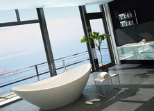 Ultramodern contemporary design bathroom interior with sea view Stock Photography