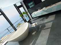 Ultramodern contemporary design bathroom interior with sea view Royalty Free Stock Image