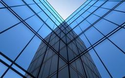 ultramodern glass sky för facade stock illustrationer