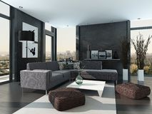 Ultramodern Loft Living Room Interior Royalty Free Stock Image