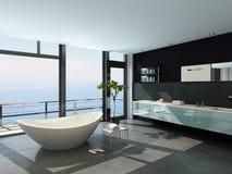 Ultramoderner zeitgenössischer Entwurfsbadezimmerinnenraum mit Seeansicht Stockbild