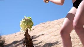 Ultrarapid: Den sexiga unga flickan i en svart baddräkt och exponeringsglas, förstör frukter och grönsaker med ett baseballslagtr arkivfilmer