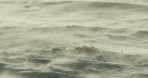 Ultrarapidnärbild av häftiga snöstormen på stranden arkivfilmer