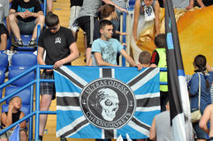 Ultras Chernomorets hang their flag Royalty Free Stock Image