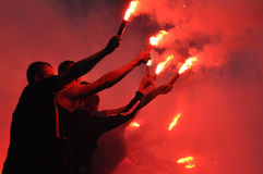 Ultras fans burning faiers Stock Photo