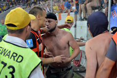 Ultras FC Shakhtar communicate with the players Royalty Free Stock Photo