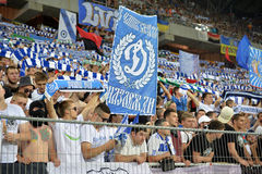 Ultras are holding scarfs and banners of FC Dinamo team Stock Photography