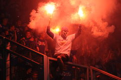Ultras hooligans supporters burn flares during match, Slask Wroclaw vs Lech Poznan on May 06, 2013 in Wroclaw, Pola Stock Photography