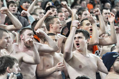 Ultras of Shakhtar shouting Royalty Free Stock Image