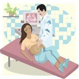Ultrasone studie van het foetus Stock Afbeeldingen