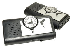 Ultrasonic Bat Detectors. Bat detector used for converting inaudible ultrasonic bat calls to a frequency humans can hear, isolated on a white background Stock Image