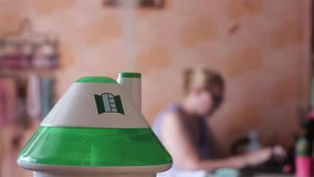 An ultrasonic humidifier spreading steam stock footage