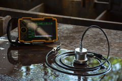 Ultrasonic test to detect imperfection or defect of steel plate. In Workshop, NDT Inspection stock image