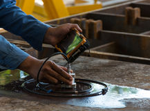 Ultrasonic test to detect imperfection or defect of steel plate Stock Image