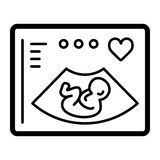 Ultrasonography vector icon. Black and white screening baby illustration. Solid linear icon. Eps 10 Royalty Free Stock Images