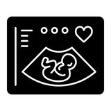 Ultrasonography vector icon. Black and white screening baby illustration. Solid linear icon. Eps 10 Stock Image
