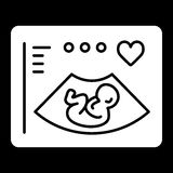 Ultrasonography vector icon. Black and white screening baby illustration. Solid linear icon. Eps 10 Stock Images
