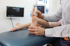 Ultrasound of caucasian girl`s heel Stock Photography