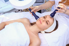 Ultrasound cavitation anti-aging, lifting procedure. Royalty Free Stock Image