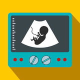 Ultrasound fetus flat icon. On a yellow background Royalty Free Stock Images