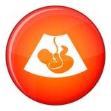 Ultrasound fetus icon, flat style Royalty Free Stock Photos