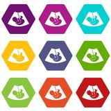 Ultrasound fetus icon set color hexahedron. Ultrasound fetus icon set many color hexahedron isolated on white vector illustration Royalty Free Stock Photos