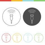 Ultrasound icon concept. Medical ultrasound icon - phased array transducer. Thin line  pictograms of sonography in different colors Stock Image