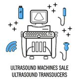 Ultrasound machine isolated. On white with line and convex transducers. Medical diagnostic device with ultrasound probes. Sonography. Vector illustration made Royalty Free Stock Image