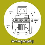 Ultrasound machine isolated. On white. Medical diagnostic device. Sonography. Vector illustration made in modern line style Royalty Free Stock Photo