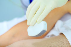 Ultrasound sensor in dostors hand Stock Images