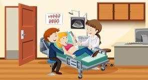 Ultrasuono delle coppie all'ospedale royalty illustrazione gratis