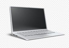 Ultrathin modernt bärbart skrivbord för bärbar datorairbook Arkivbilder