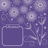 Ultraviolet background with monoline white floral lace patterns in vintage style, square design with text frame for. Invitation, trendy purple color combined Stock Illustration