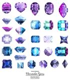 Ultraviolet and blue gems. Ultraviolet and blue  gems. Isolated, path included Stock Photo