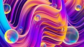 Ultraviolet 3D abstract twisted fluid liquid shapes with sparkling water drops Vector Illustration