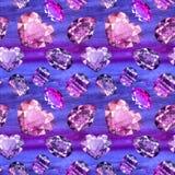 Ultraviolet gems seamless pattern 3 Royalty Free Stock Photography