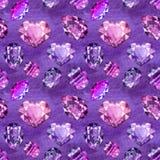 Ultraviolet gems seamless pattern 1 Royalty Free Stock Photography