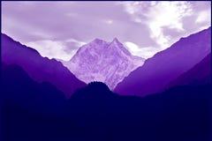 Ultraviolet landschap van Himalayan-bergen nepal Stock Foto