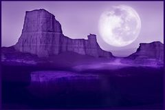 Ultraviolet natural background. Lunar desert landscape. Color of year 2018 Stock Photos